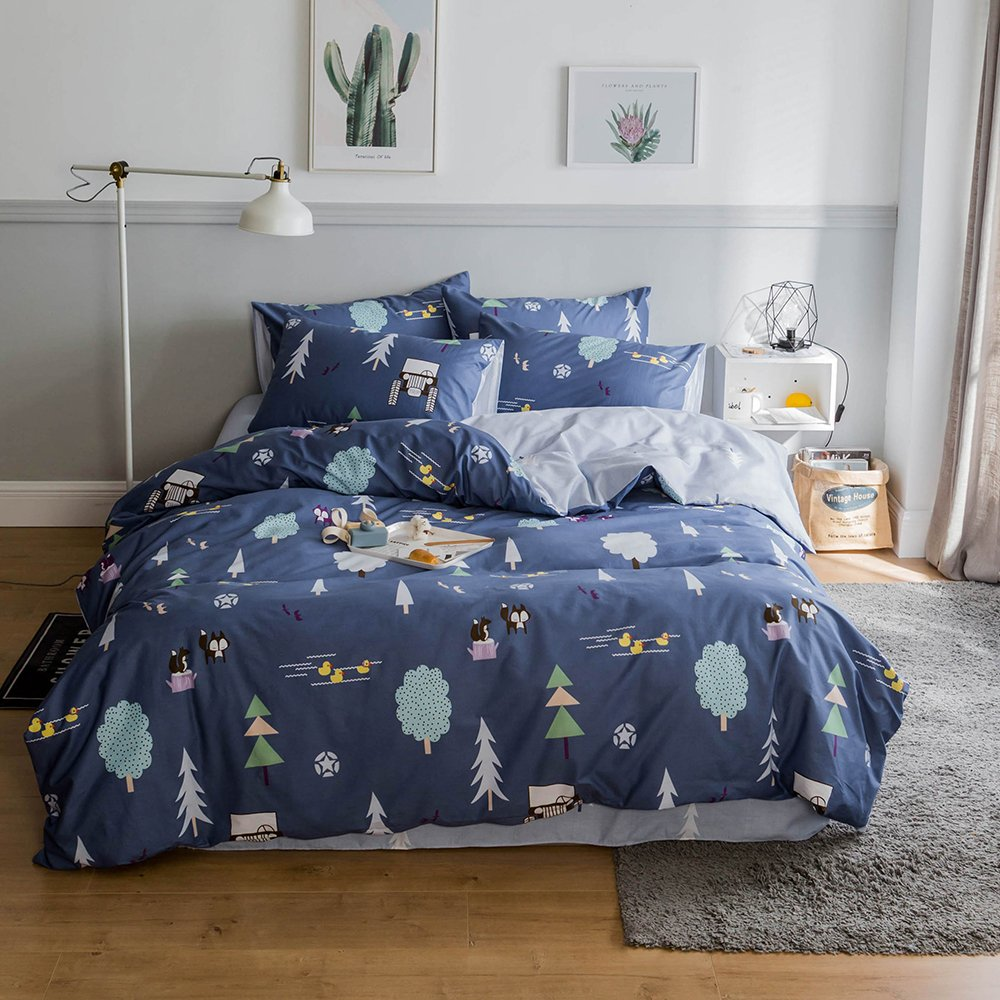 HIGHBUY Soft Cotton Kids Bedding Duvet Cover Sets Twin Blue Grey Forest Theme Fox Printing Duvet Cover Set for Children Teens Boys Reversible Design Zipper Corner Ties,Twin