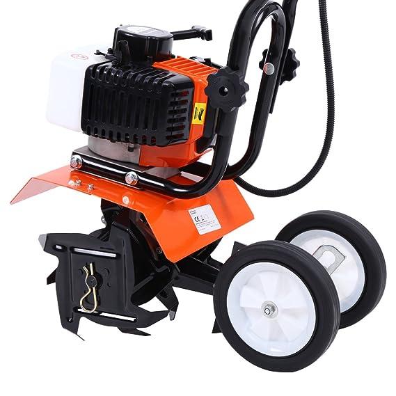 Paneltech Mini Tiller Cultivador Aire enfriado por Gas Gasolina Powered Farm Plant Jardín Yard Cultivador Sierpe Motor-52cc 1.65kw Orange Garden Tiller ...