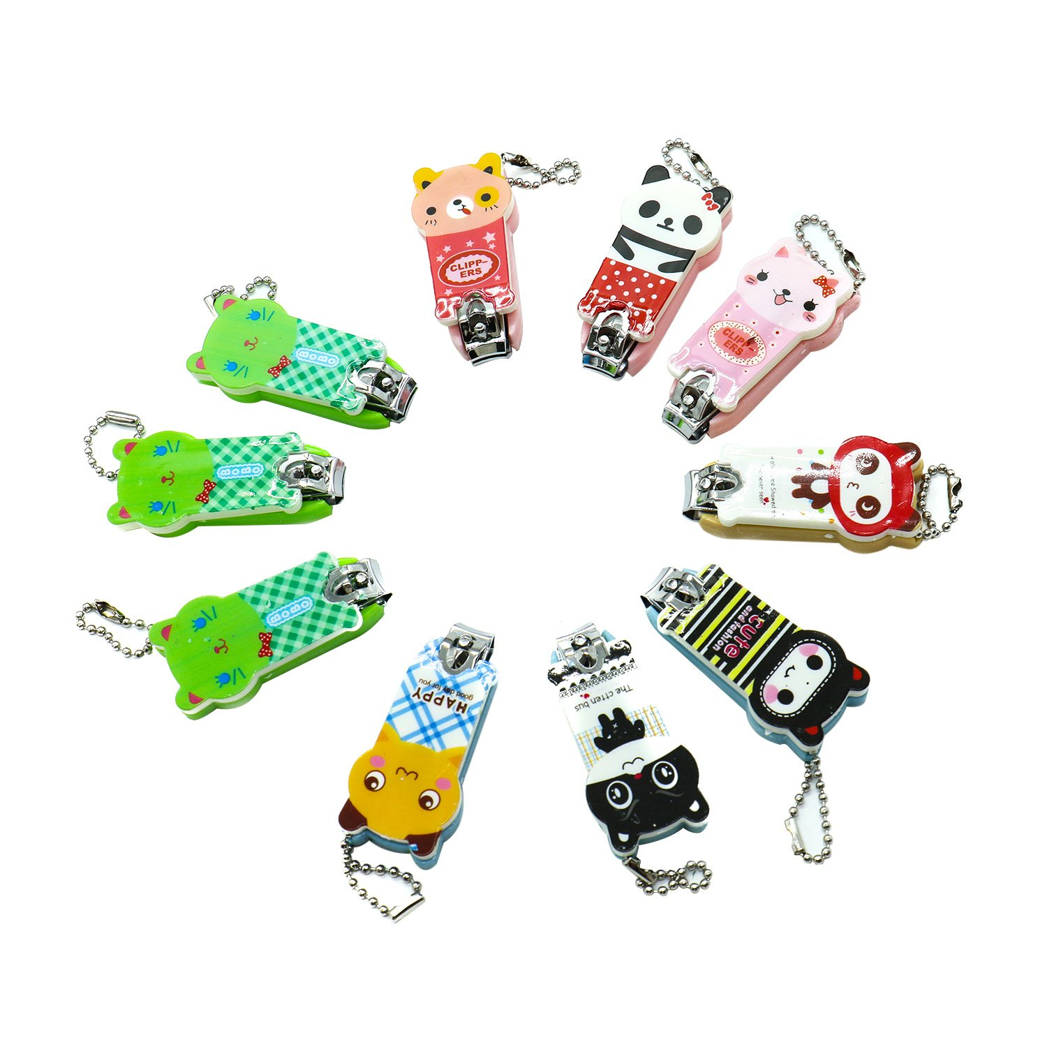 Pack Of 10 Cute Cartoon Stainless Steel Nail Cutter with Chain , Best Quality Nail Cutter IDS Manufacturer