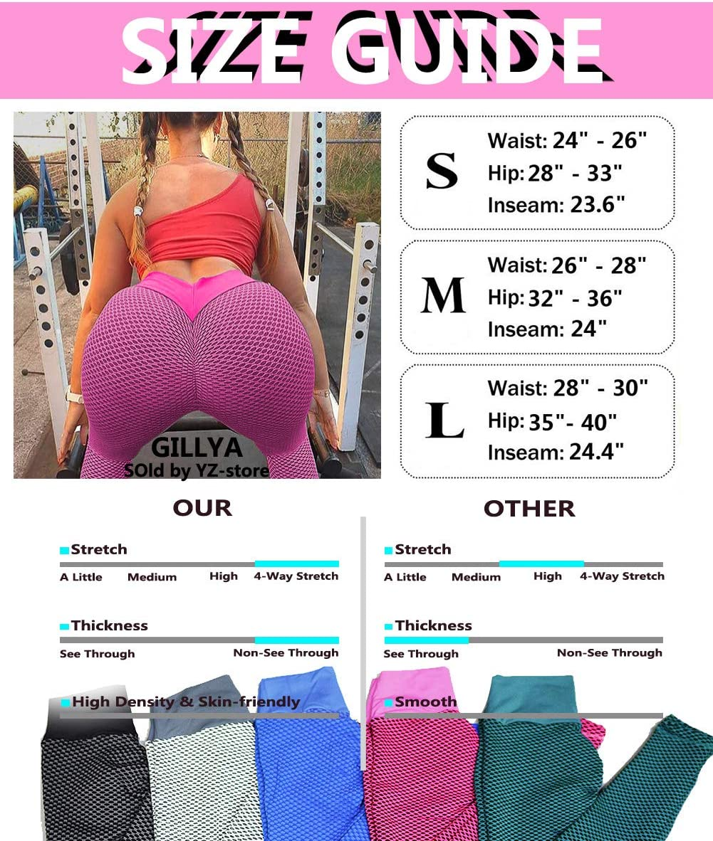 GILLYA Lift Yoga Pants Textured Leggings for Women High Waisted Ruched Butt Booty Lifting Leggings Ruched Tights