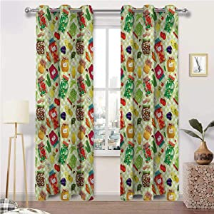 Kids Blackout Curtains, Kitchen Room Darkening Thermal Insulated Grommet Drapes, Foods Glass Jars on Table Set of 2 Panels, 72 Width x 96 Length