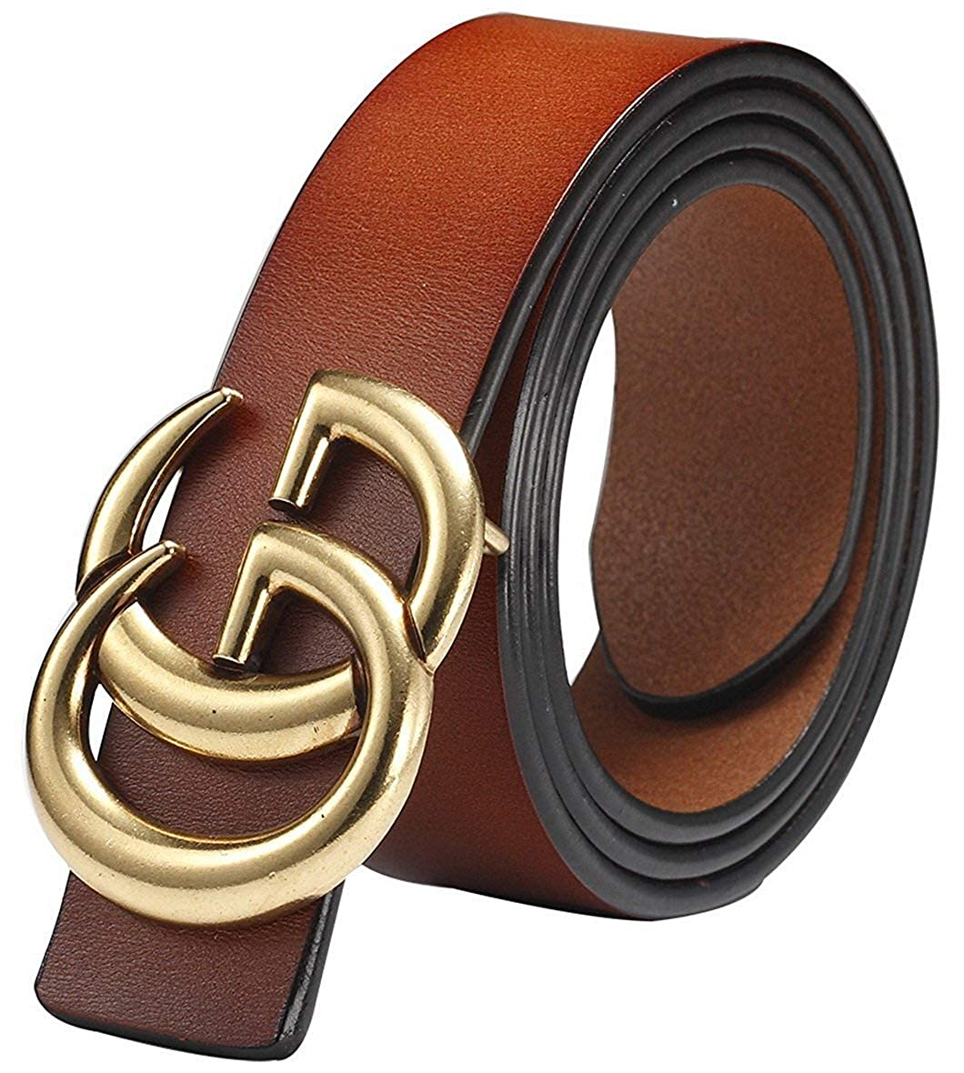 b6ce84c2448 GG Women s Genuine Leather Retro Vintage Dress Belts for Jeans with Letter  Buckle at Amazon Women s Clothing store