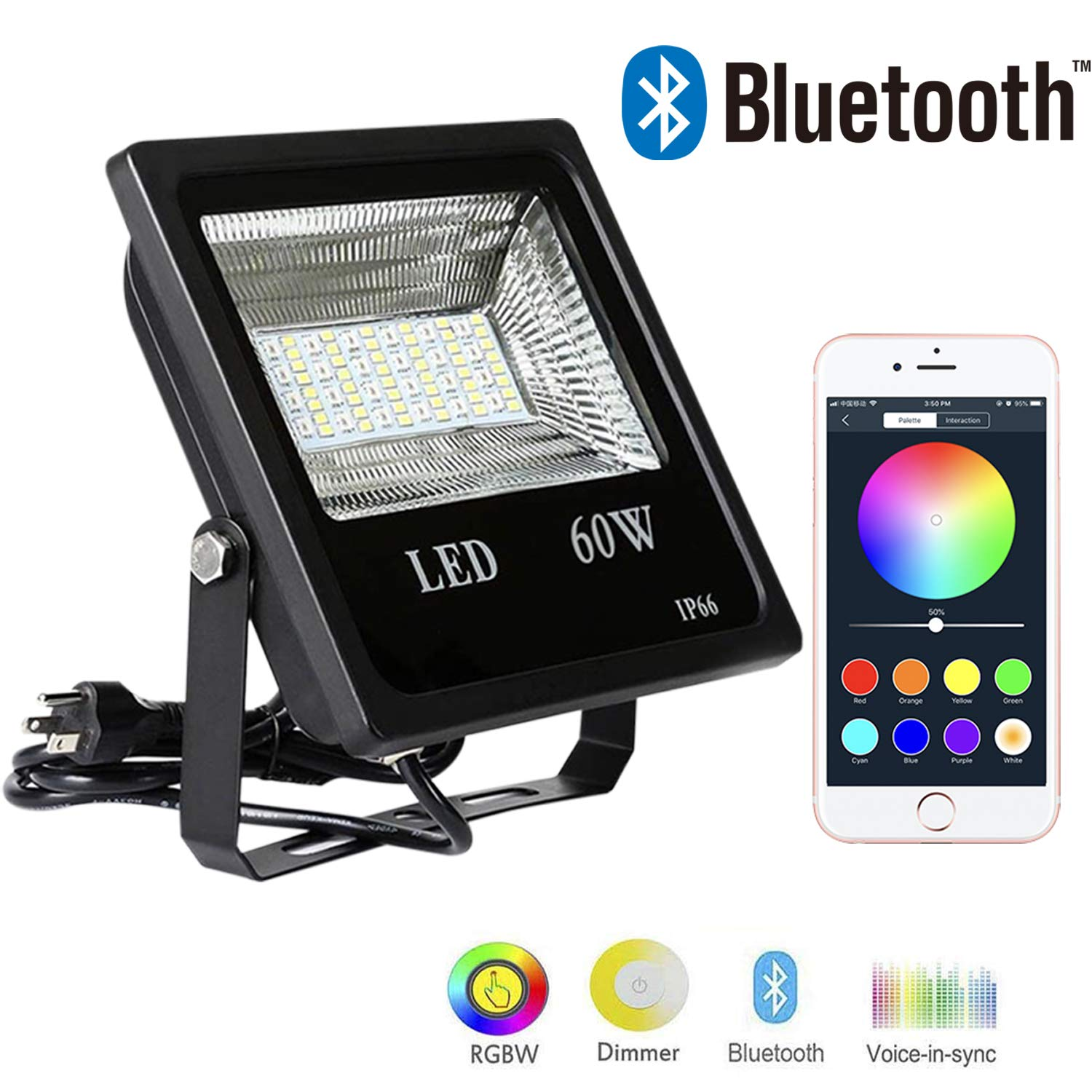 Stage Lighting Hypergiant/_FAC Hypergiant 1 Pack 60W Bluetooth Led RGBW Flood Lights IP66 Waterproof Multi Colors Multi Modes Dimmable Wall Washer Light Outdoor Color Changing Floodlight with Remote APP Control