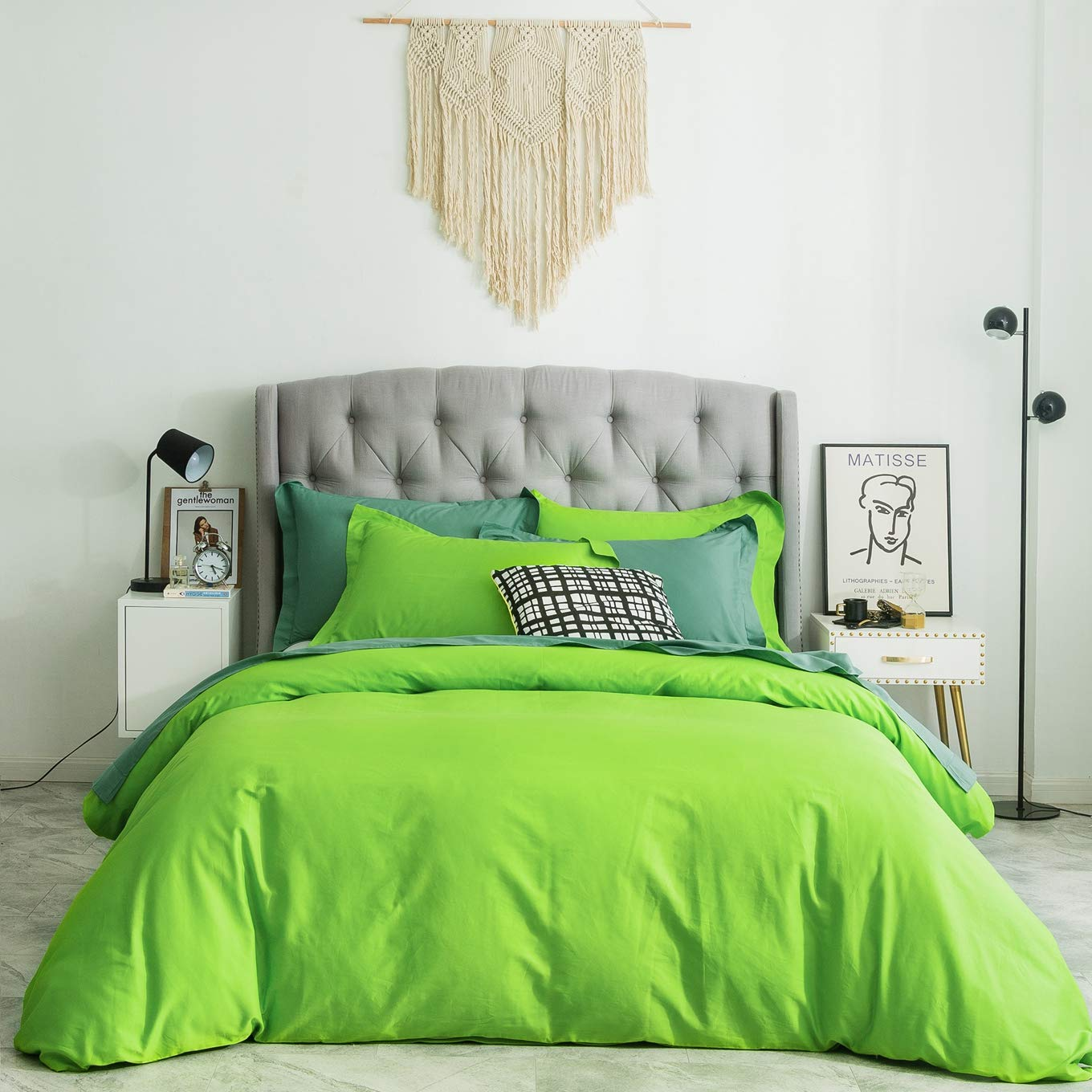 SUSYBAO 3 Pieces Duvet Cover Set 100% Natural Cotton Queen Size 1 Duvet Cover 2 Pillow Shams Light Green Luxury Quality Ultra Soft Breathable Lightweight