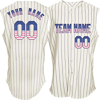 880e71443b Pullonsy Pinstriped Men's Customized Baseball Jersey Sleeveless Stitched  Name,American Flag-Purple Size S