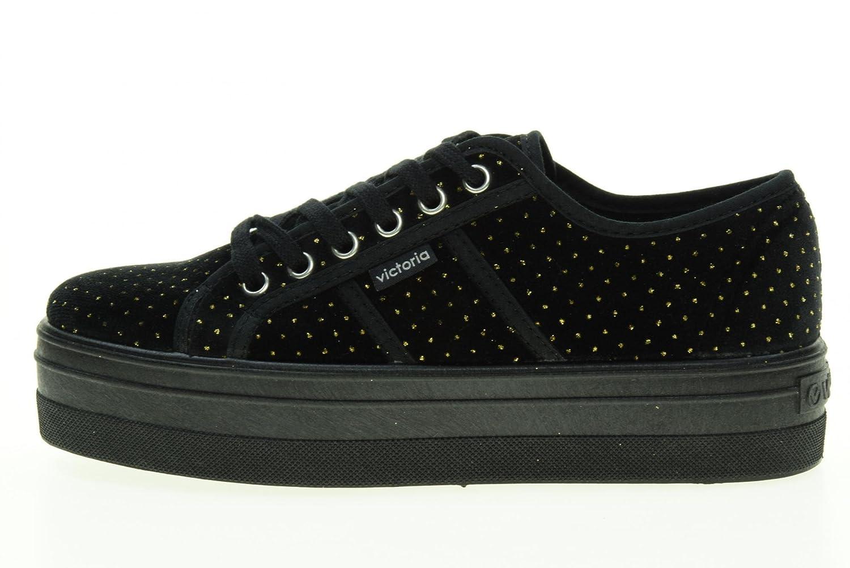 Zapatillas Victoria 092101 - Plataforma Terciopelo Puntitos Negro: Amazon.es: Zapatos y complementos