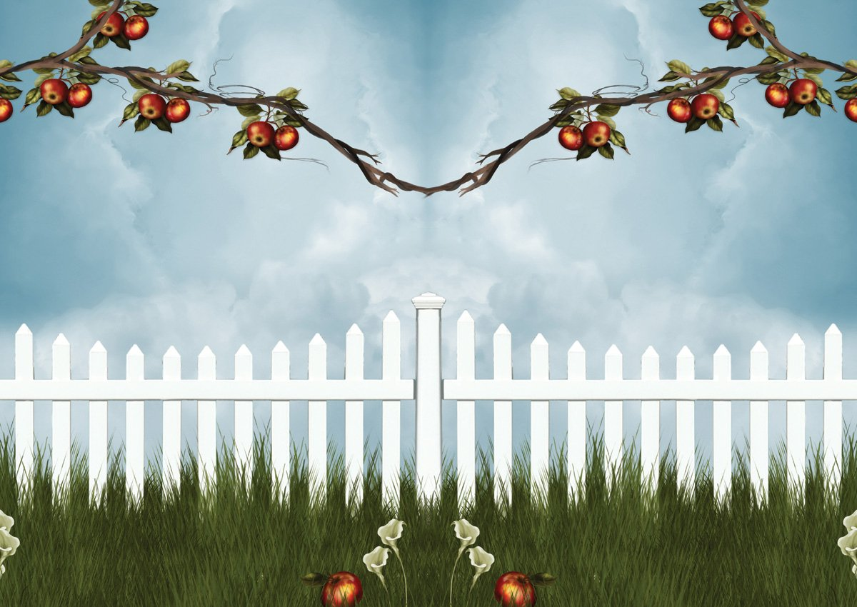 JP London MDXL4042PS uStrip Peel and Stick Apple Tree Summer Picket Fence Removable Full Wall Mural 12 x 8.5 12/' x 8.5/' JP London Design