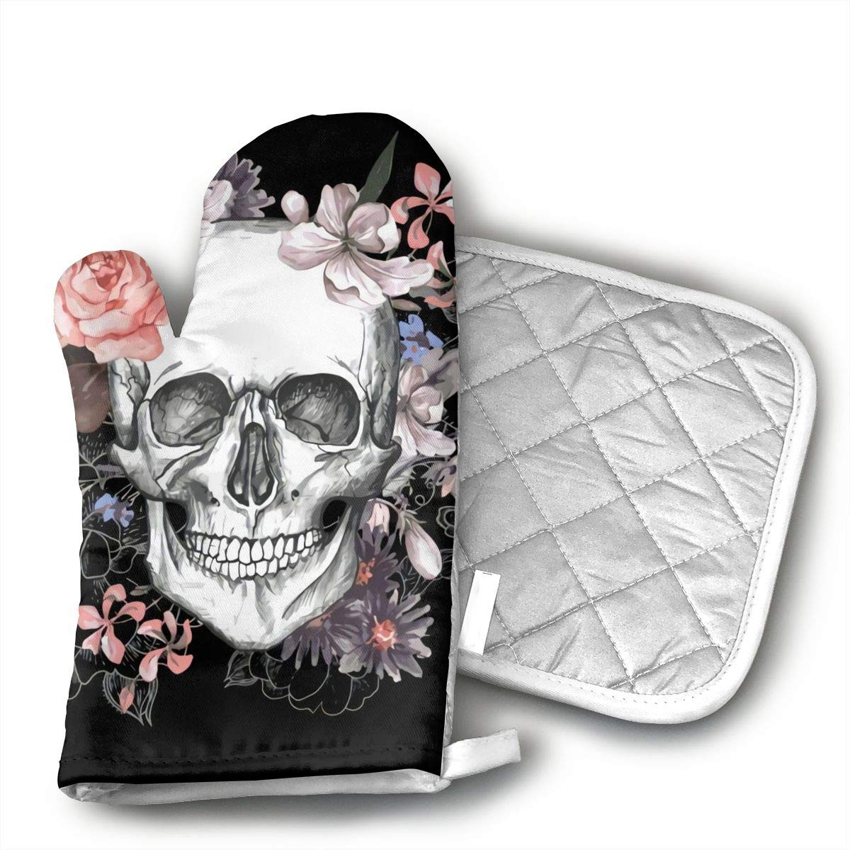 CHFSTi Oven Mitts Beautiful Floral Sugar Skull Non-Slip Silicone Oven Mitts& Pot Holders, Heat Resistant to 500Fahrenheit Degrees Kitchen Oven Gloves