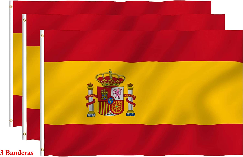 Hollylife Pack de 3 Banderas Grandes de España, 150 x 90 cm, Anti ...