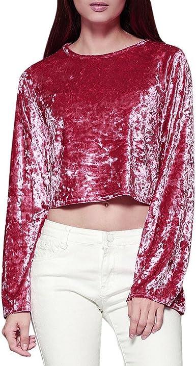 Camisa de Terciopelo de manga larga, Holacha Blusa Corta de Mangas Abocinadas Sólido Elegante Casual Tops para Mujeres (rojo, XL): Amazon.es: Ropa y accesorios
