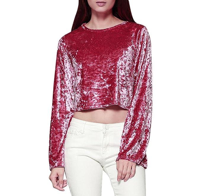 Camisa de Terciopelo de manga larga, Holacha Blusa Corta de Mangas Abocinadas Sólido Elegante Casual
