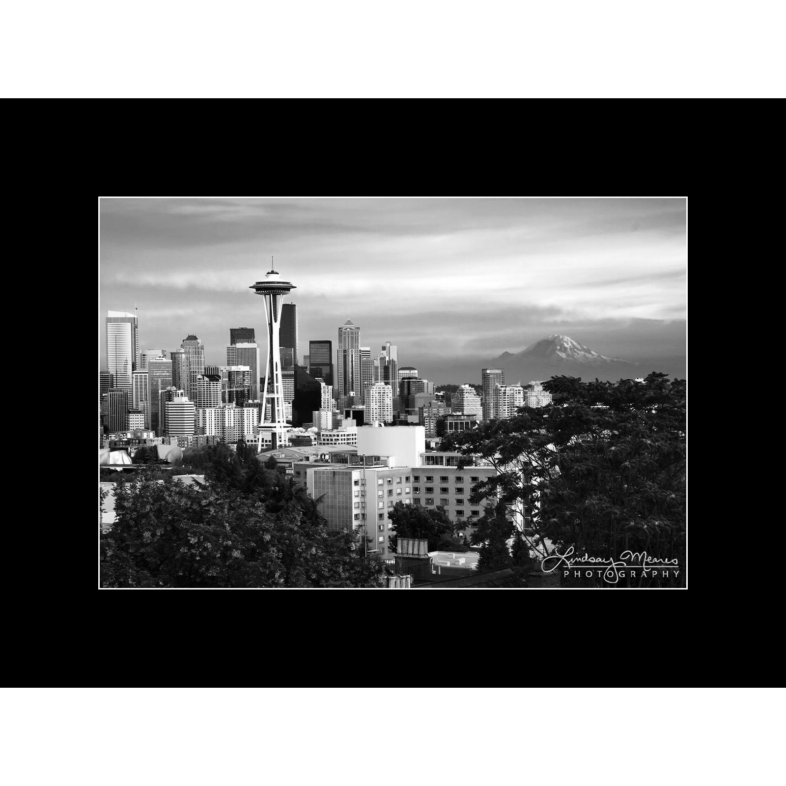 B&W Seattle Wall Art, 8x12 Inch Matted Print, ''Black & White Seattle Sunset'' by TravLin Photography
