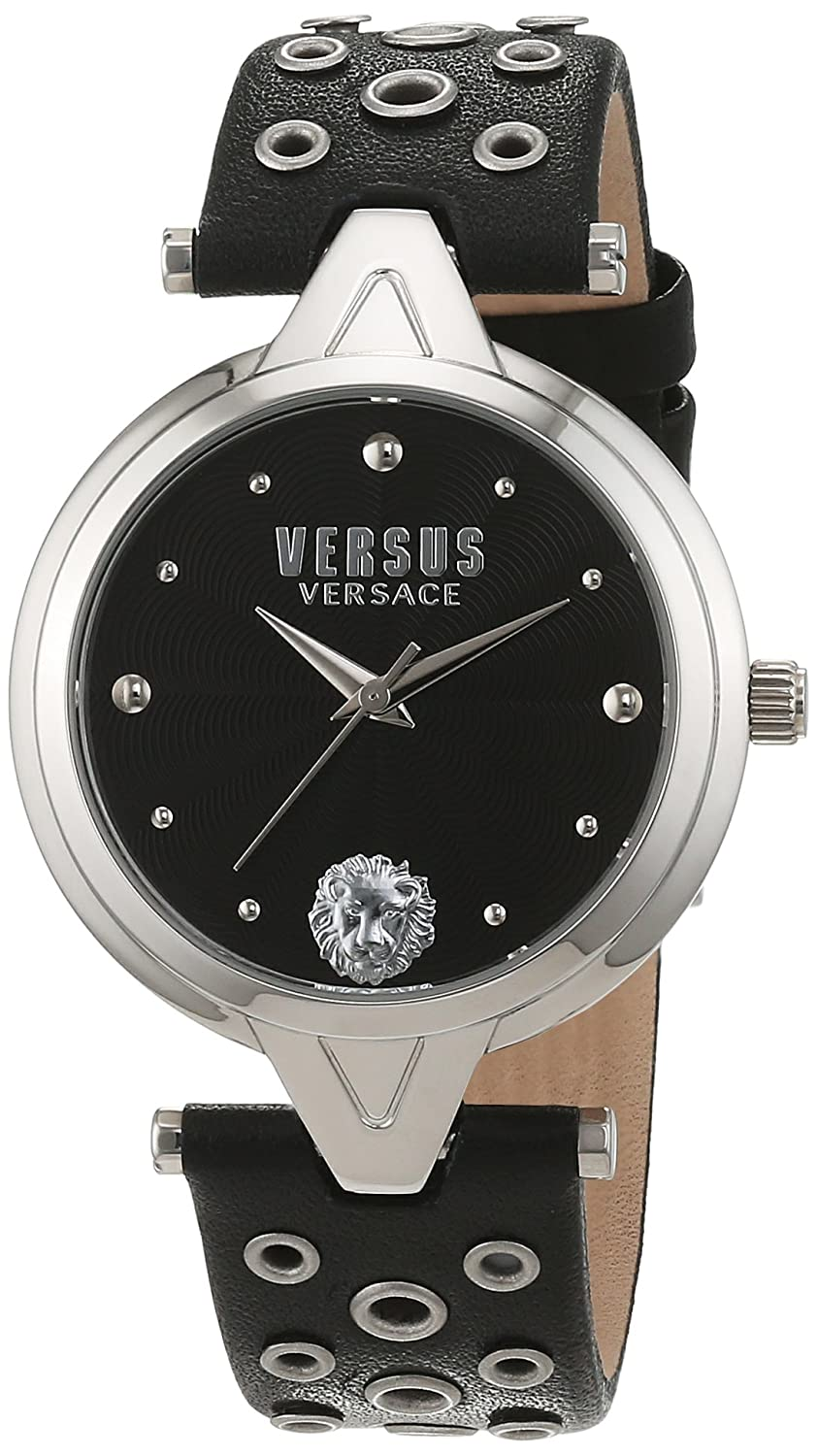 Versus by Versace Women 's ' V versusアイレット' QuartzステンレススチールandレザーCasual Watch , Color : Black ( Model : sci010016 ) B01A55HFE8