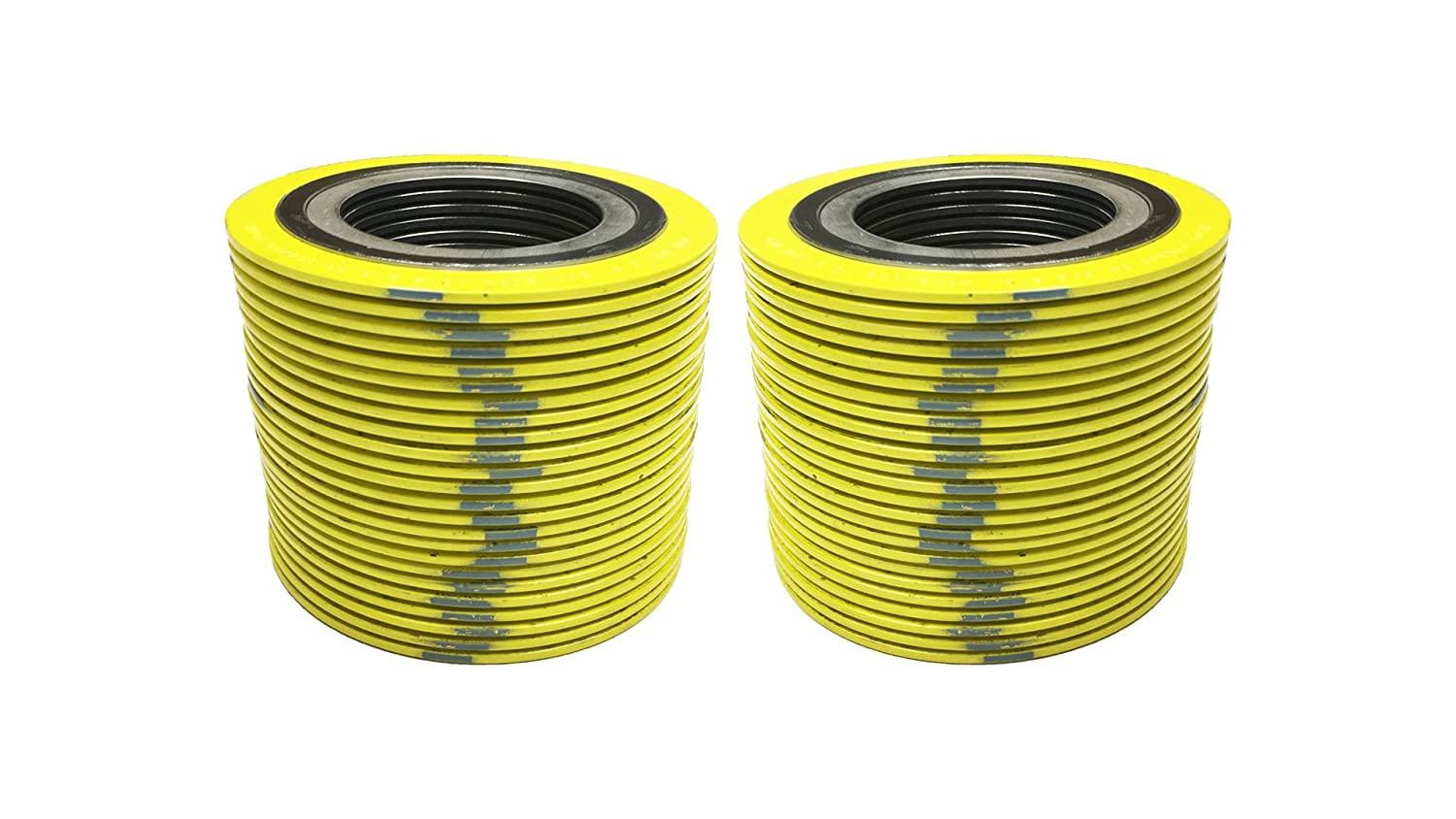 Supplied by Sur-Seal Inc of NJ Yellow with Grey Stripe Pack of 48 Sterling Seal 9000IR1304GR2500X48 304 Stainless Steel Spiral Wound Gasket with Inner Ring and Flexible Graphite Filler for 1 Pipe Pressure Class 2500#