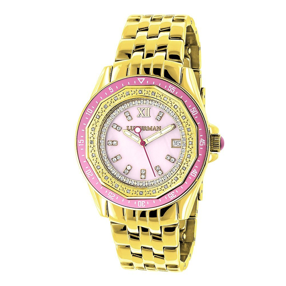Amazon Com Real Diamond Watch For Women With Pink Bezel And Face