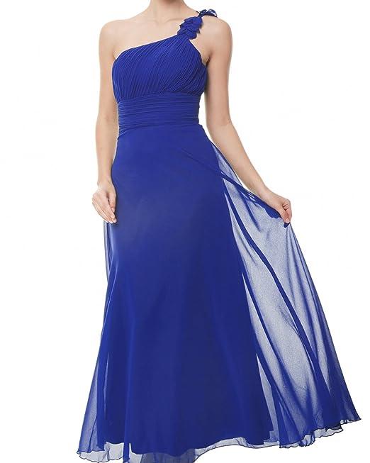 ZAFUL Elegante Largos Vestidos Fiestas Bodas Vestidos de Cóctel sin Mangas Hombros Para Mujer Azul L