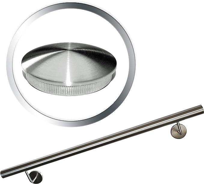 UNGETEILT 4000 mm Edelstahl Handlauf V2A 33,7mm 240K geschliffen Wandhandlauf mit leicht gew/ölbter Endkappe