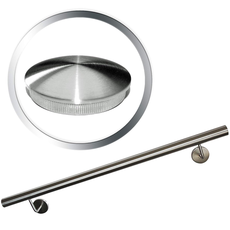 Edelstahl Handlauf V2A 42,4mm 240K geschliffen Wandhandlauf mit leicht gew/ölbter Endkappe 1600 mm