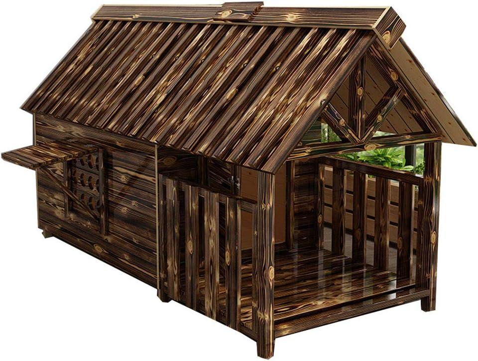 Color antiguo antigua Fragante grande Penthouse de madera maciza Villa al aire libre con puertas y ventanas Habitación Four Seasons para mascotas Camas, balcón dúplex Casa de protección solar a prue: Amazon.es:
