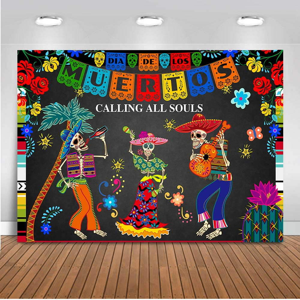 Mehofoto Day of The Dead Backdrop Mexican Sugar Skull Photography Background 7x5ft Vinyl Dia DE Los Muertos Dress-up Party Supplies Fiesta Banner Decoration by Mehofoto