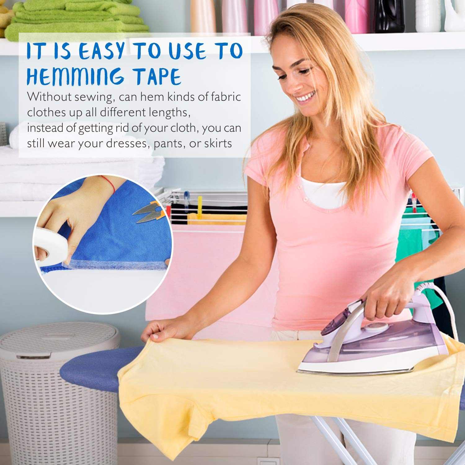 2 Pack 140 Yards Fabric Fusing Tape 15 /& 20 mm Iron-on Fusible Hemming Fusing Wonder Web Tape for Clothes with 5 PCS Sewing Clips