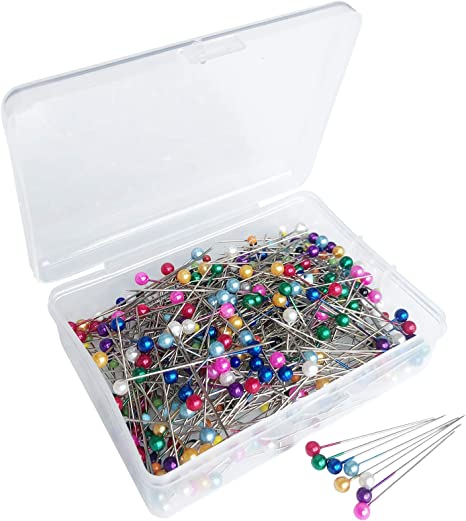 Benvo 250 Count Sewing Pins with Glass Pearl Head Pins Straight Quilting Pins 38mm Multicolor Ball Head Pins with Hanging Plastic Contain Box for Dressmaker Jewelry Decoration