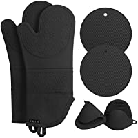 Rorecay Extra Long Oven Mitts and Pot Holders Sets: Heat Resistant Silicone Oven Mittens with Mini Oven Gloves and Hot…