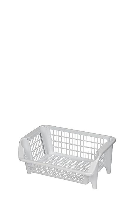 Cocina cesta, cesta apilable de plástico en color blanco. Apilables ...