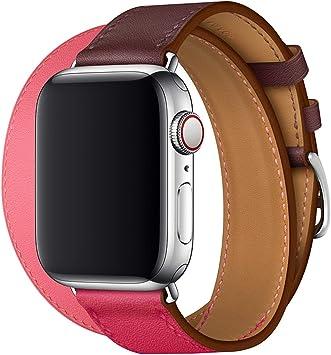 XCool para Correa Apple Watch 42mm 44mm, Cuero Rojo Rosado Double Tour para Hombres Mujer para iwatch Serie 4 Serie 3 Serie 2 Serie 1: Amazon.es: Electrónica