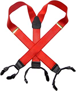 product image for HoldUp Suspender Company dressy Red Satin Finish Double-Ups Style Suspenders with black No-slip Clips
