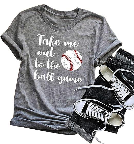 7883ad02 LONBANSTR Take Me Out to The Ballgame T Shirt Women Baseball mom Cute  Graphic Top (