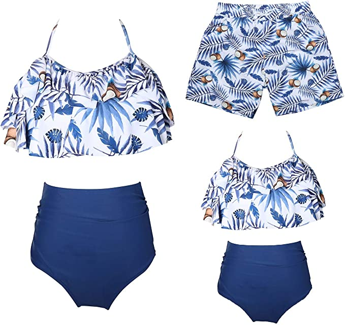 Ababalaya Mommy and Me Family Matching Swimwear Newest Printed Bikini Two Pieces Sets