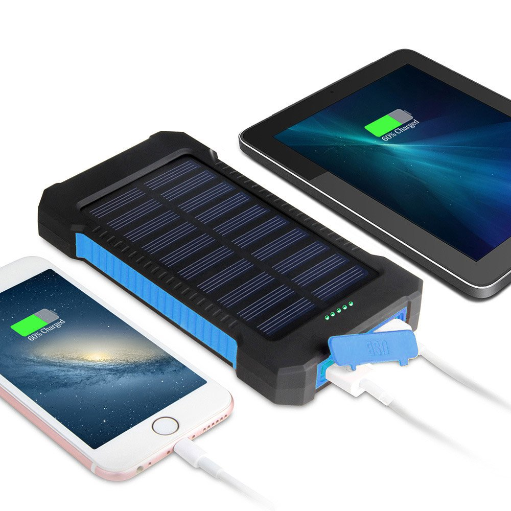 MeliTech Solar Charger 20000mAh Portable Solar Power Bank External Battery Pack Dual USB with LED Flashlight and Compass for Smartphones Tablet Camera (Black& Blue) by MeliTech (Image #2)