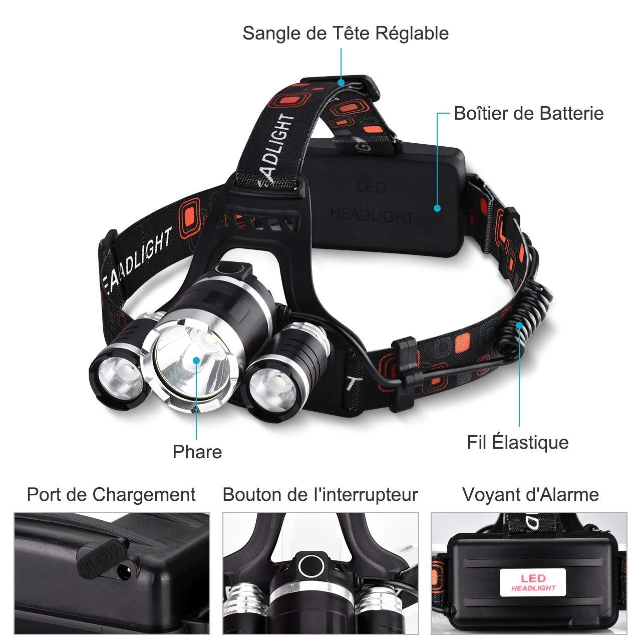 Luz de Emergencias Pesca Linterna Frontal con Bater/ías 5000Lum 4 Modo de Luz hasta 400Mt y hasta 6h Usar de TopElek con Ligero Peso 3 LED Alta Potencia para Camping Exterior e Interior
