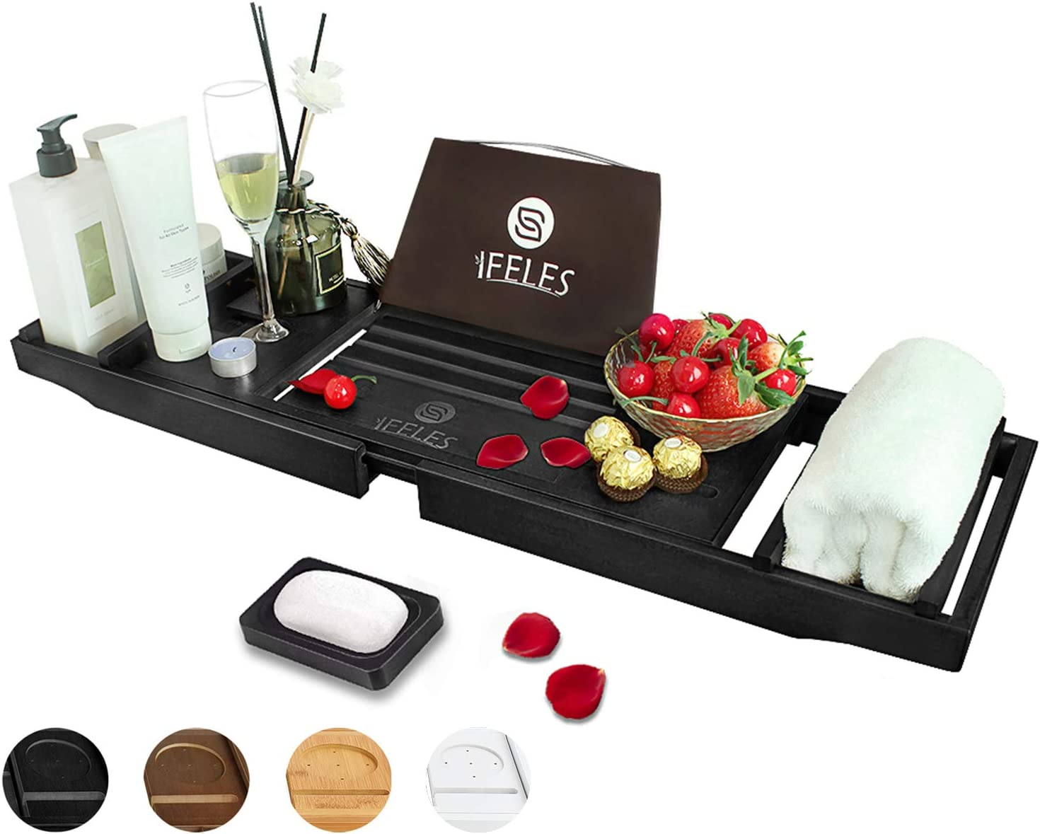 IFELES Luxury Bathtub Caddy Tray, One or Two Person Bath and Bed Tray, Bonus Free Soap Holder (Black Bamboo Color…: Kitchen & Dining