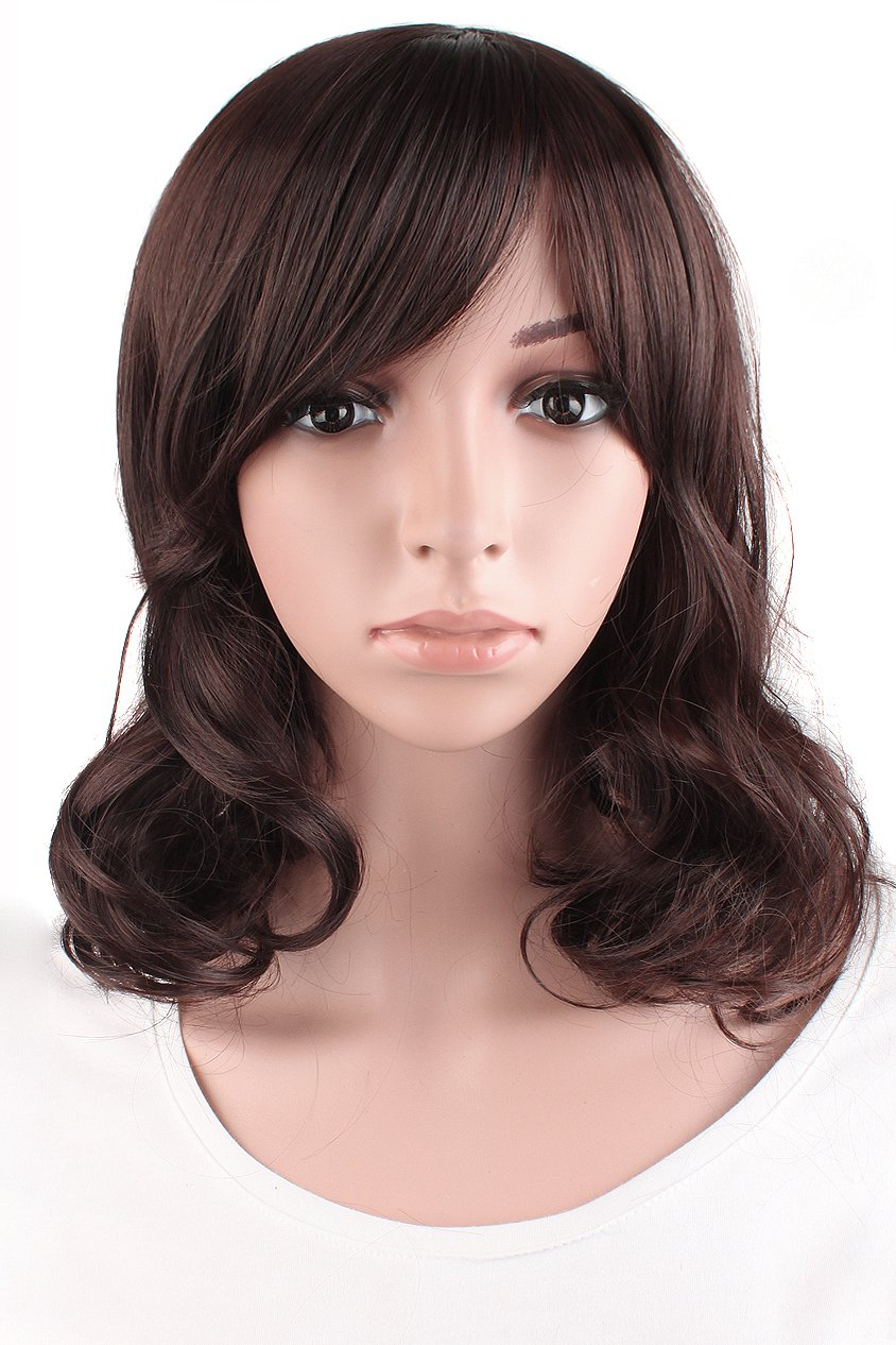 MapofBeauty Daily Use Medium Curly Wig (Dark Brown) by MapofBeauty