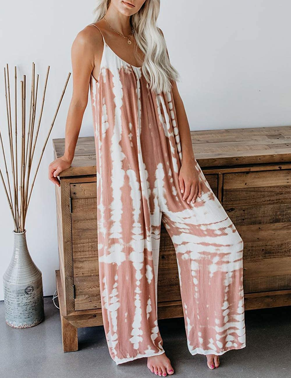CAIYING Womens 2020 Casual Spaghetti Tie Dye Jumpsuits Baggy Wide Leg Long Pant Romper