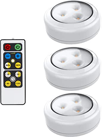 Brilliant Evolution BRRC153IR Wireless LED Puck Light 3 Pack | Works With Remote | Operates On 3 AA Batteries | Kitchen Under Cabinet Lighting