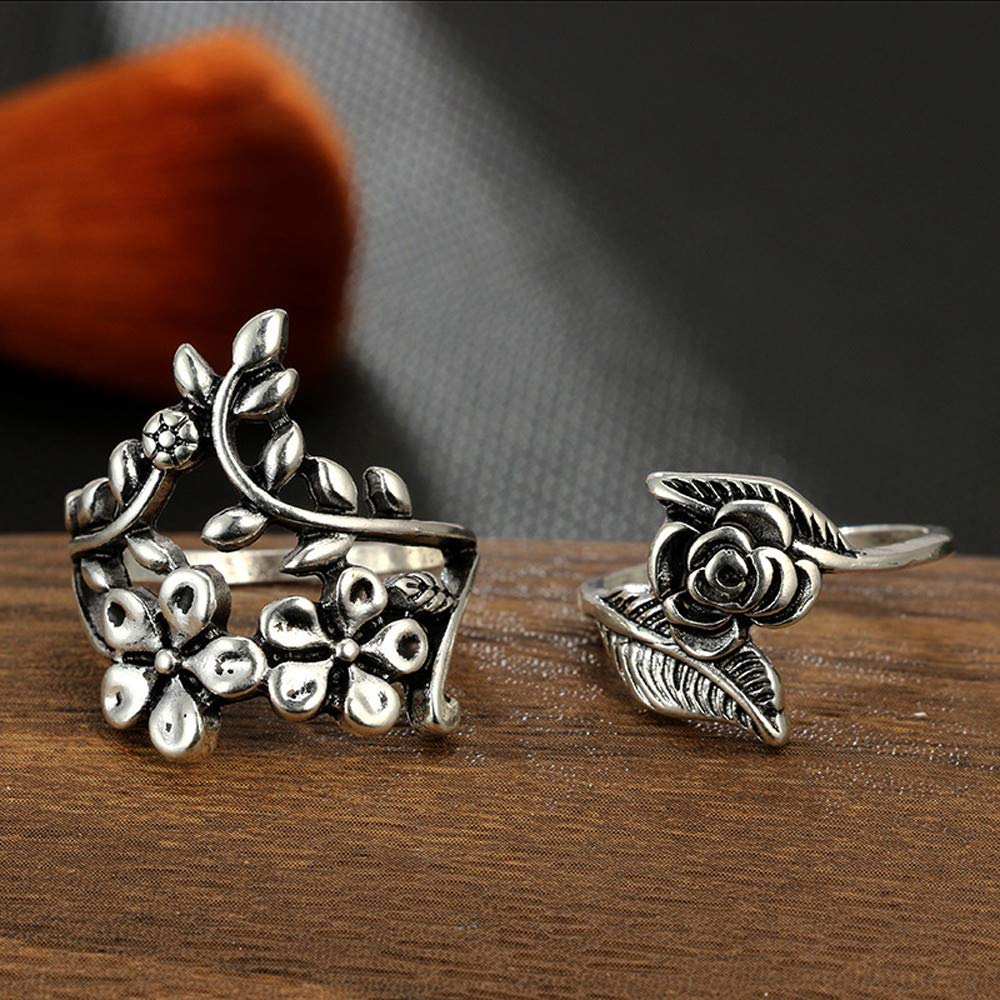 XBKPLO Rings for Womens 4pcs//Set Vintage Bohemian Flower Leaf Above Knuckle Wedding Jewelry Gift