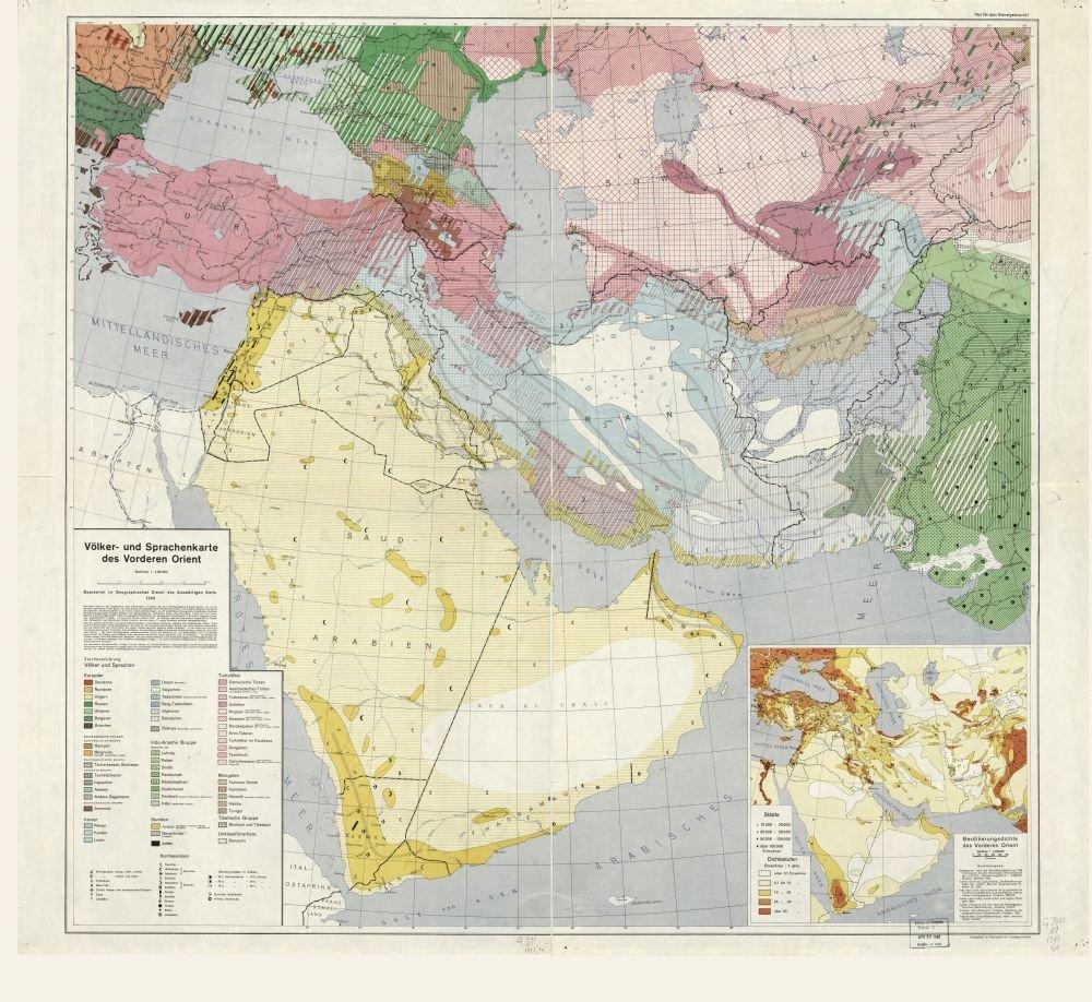 1941 map Volker- und Sprachenkarte des Vorderen Orient|Size 22x24 ...