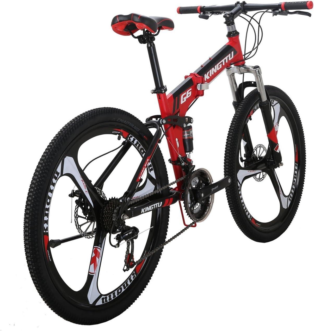 LZBIKE 自転車G6-26 マウンテンバイク 折りたたみ自転車 スチール自転車 21速シフト3×7速 3本スポークホイール自転車 赤