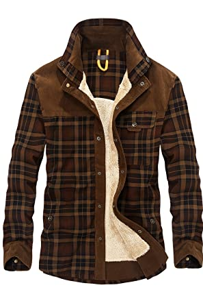 1a863ea27934 Mr.Stream Men's Outdoor Casual Vintage Long Sleeve Plaid Flannel Button  Down Shirt Jacket M