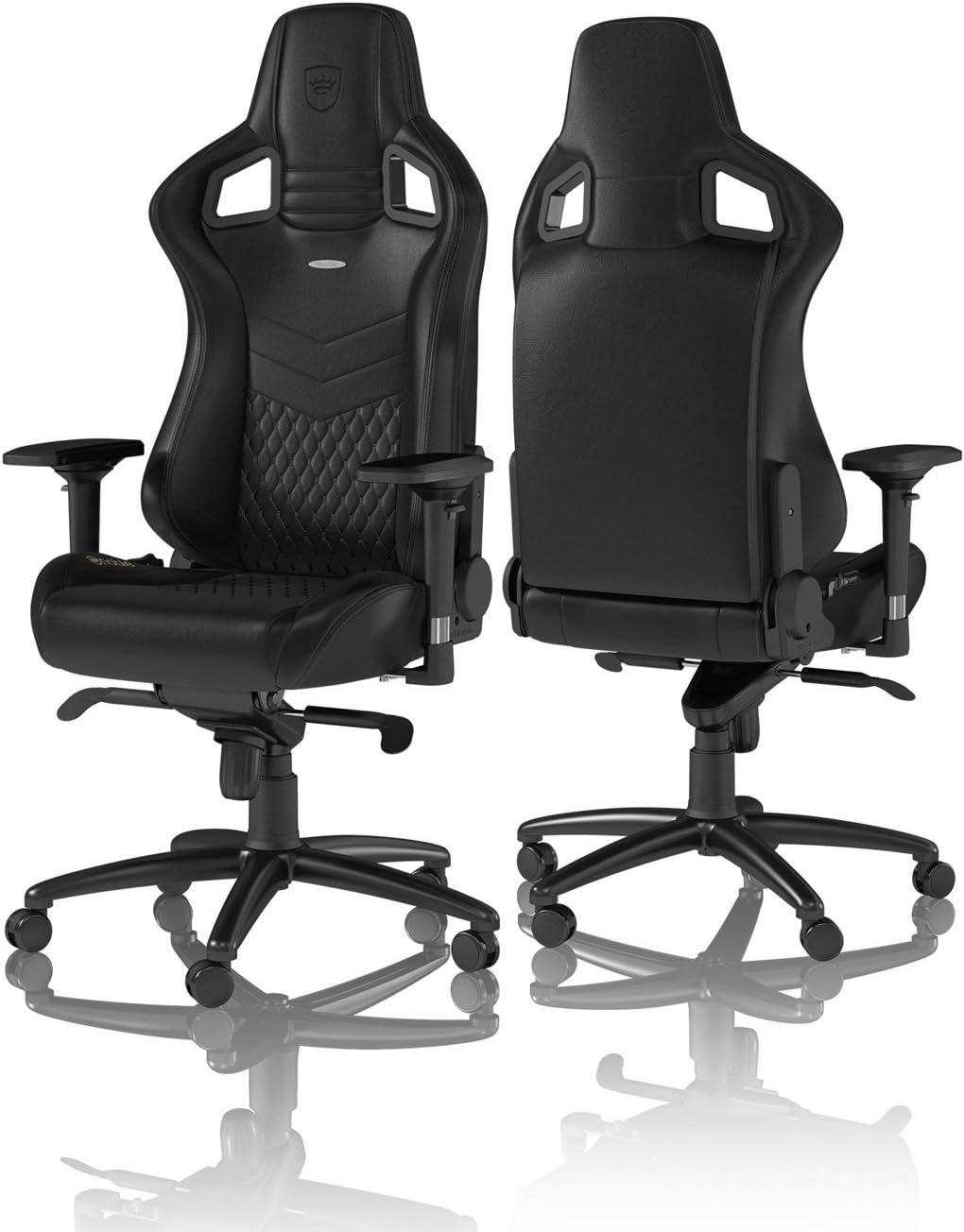 noblechairs Epic Sedia da Gaming - Sedia da Ufficio - Sedia da scrivania - Pelle Vera - 120kg - 135° reclinabile - Cuscino di Sostegno Lombare - Nero