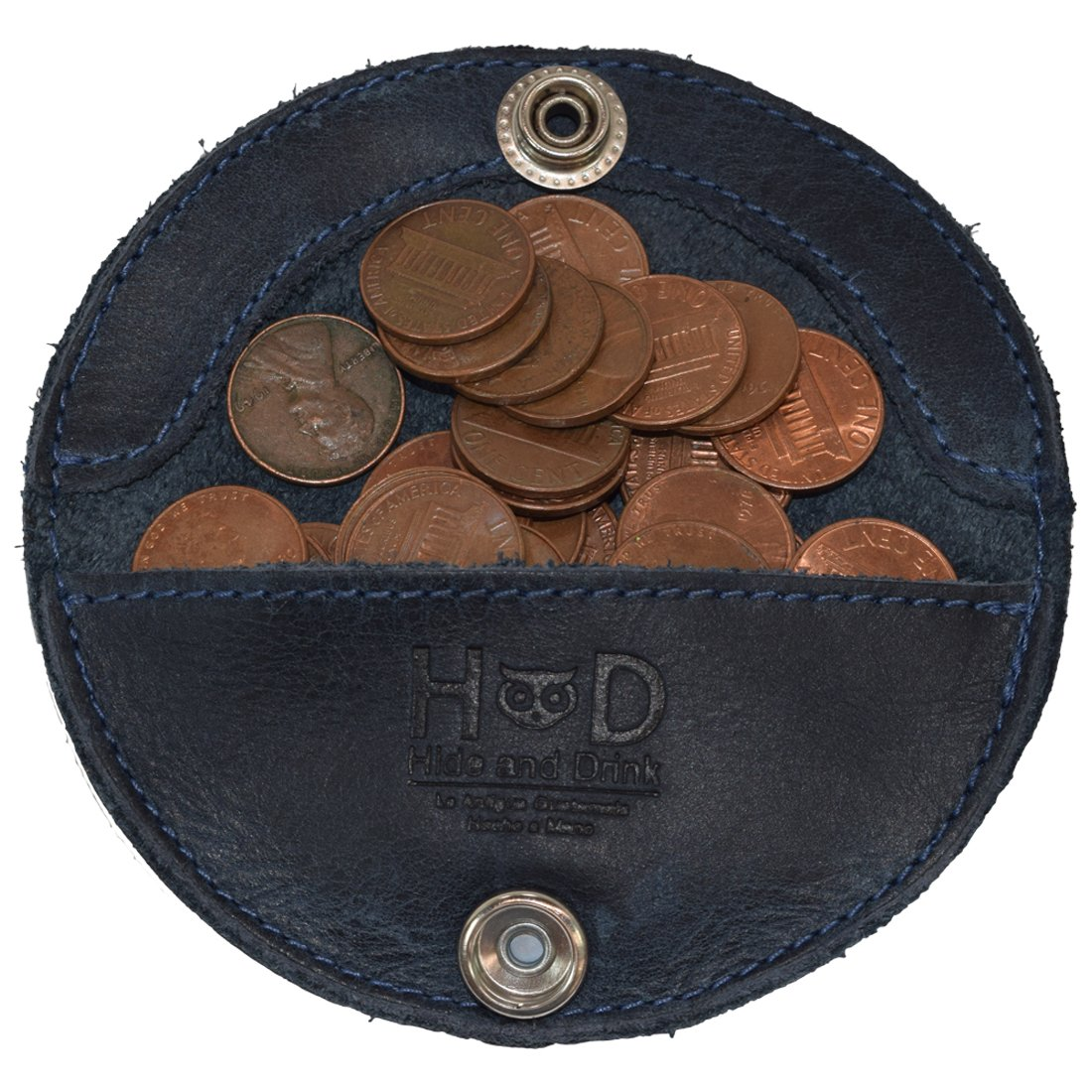Rustic Leather Moon Pocket Coin Case Handmade by Hide & Drink :: Slate Blue