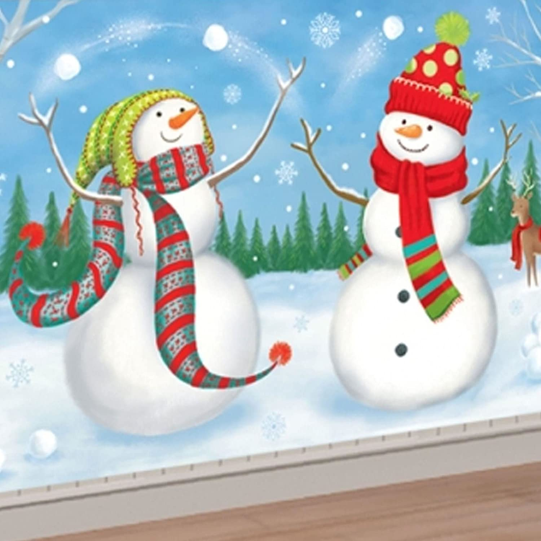 1.65m Christmas Snowman Frozen Winter Wonderland Giant Scene Jolly Reindeer Rabbit Whimsical Setter Wall Decoration Mural Back Drop Amscan