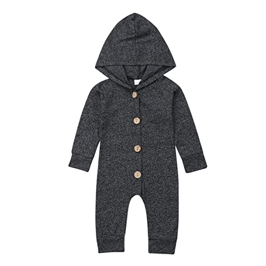 cf72ef6ef708 Newborn Kids Baby Boys Cute Solid Color Long Sleeve Hooded Romper Jumpsuit  Top Outfits Clothes (