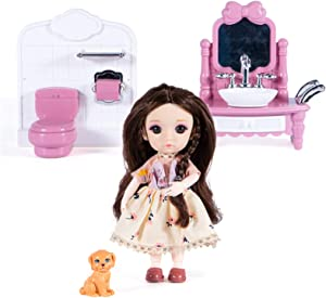 Little Bado BJD Doll 6 inch 13 Ball Joint Bathroom Doll Set Dollhouse Furniture, with Clothes,Shoes and 14 Accessories,Dog pet Toy Doll House Play Set for Girls and Boys 3 Years and up