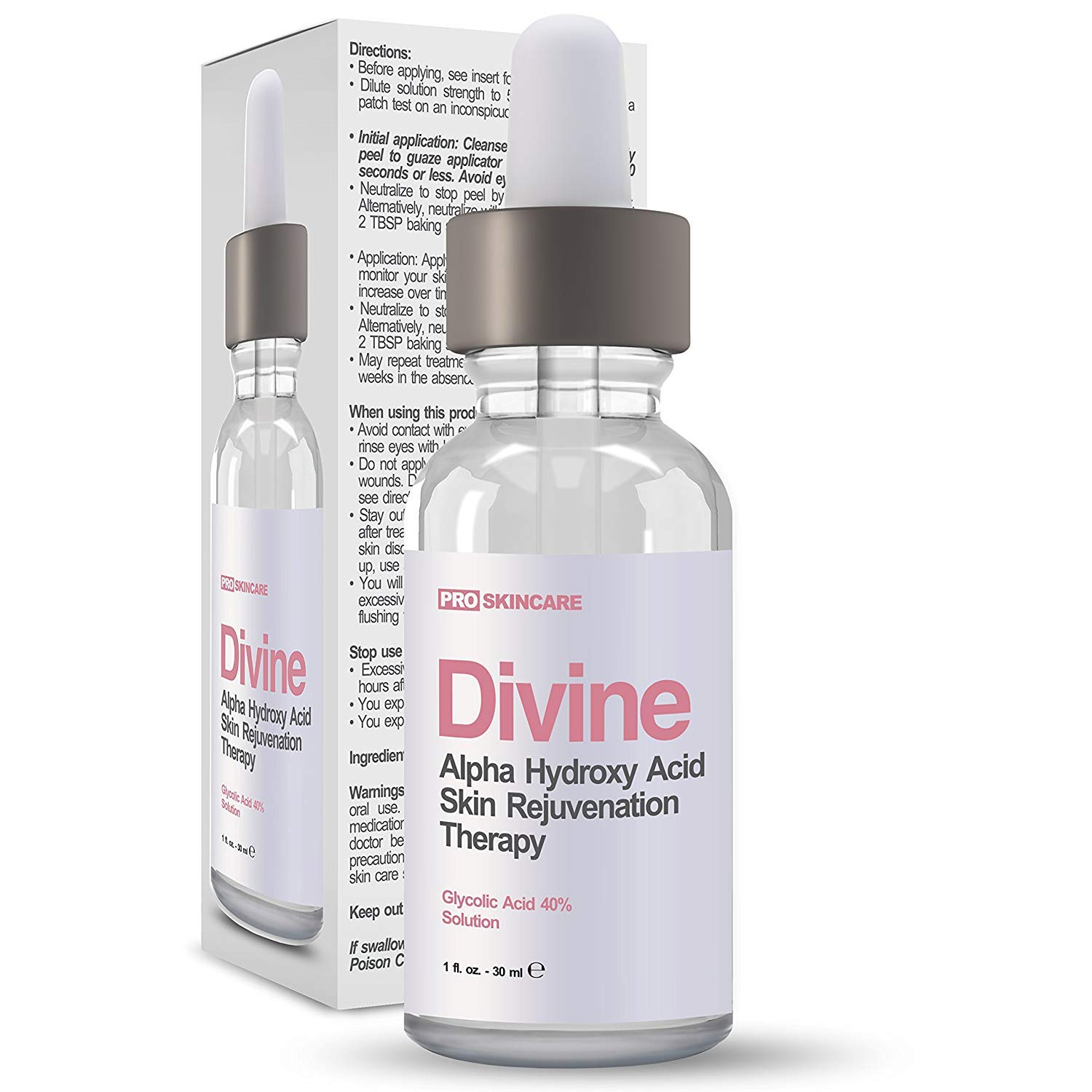 Glycolic Acid 40% Chemical Peel - Intense Alpha Hydroxy Acid Skin Peel For Acne Scarring, Wrinkles, Fine Lines and Brown Spots. 1 fl oz by DIVINE DERRIERE