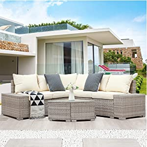 DKLGG 6 Pieces Patio PE Sofa Chair, Outdoor Sectional Furniture Wicker Conversation Couch Set All-Weather w/Glass Coffee Table Lawn, Backyard, Porch, Grey Rattan/Beige Cushion