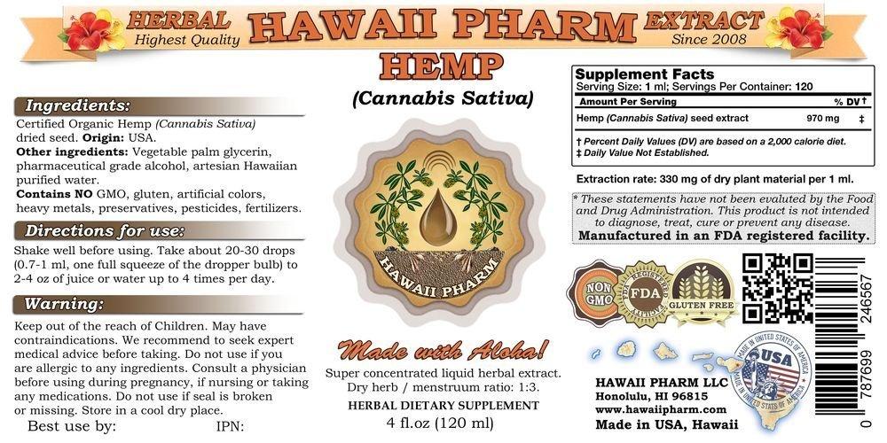Hemp Liquid Extract, Hemp (Cannabis Sativa) Seed Tincture Supplement 4x4 oz by Hawaii Pharm LLC (Image #2)
